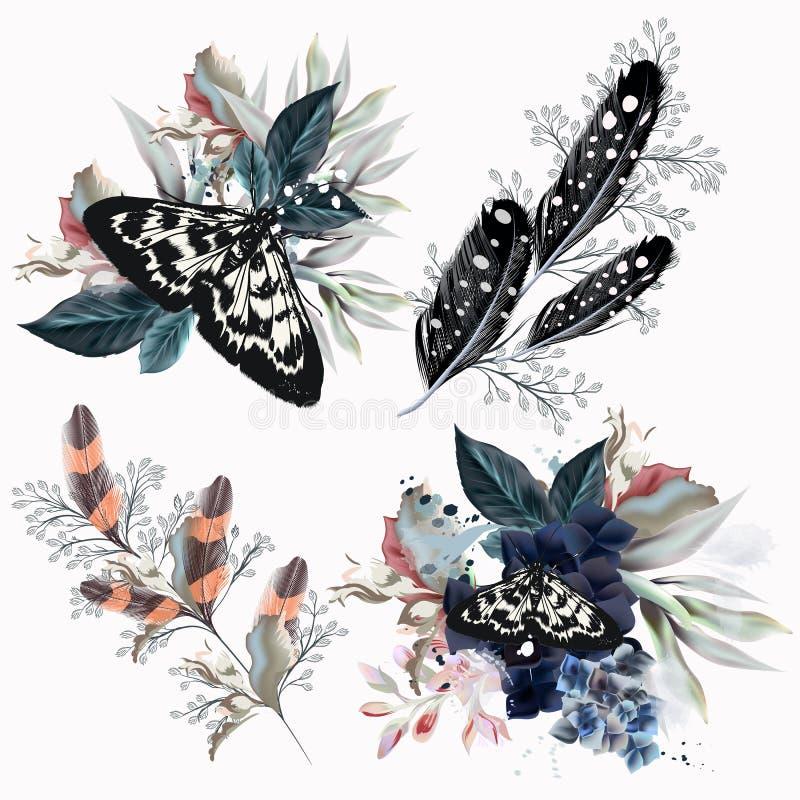 Собрание флористических составов с бабочками, цветками и бесплатная иллюстрация