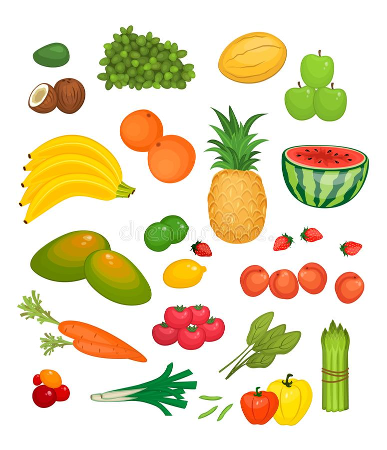 Собрание фруктов и овощей плоского Colorfuls бесплатная иллюстрация