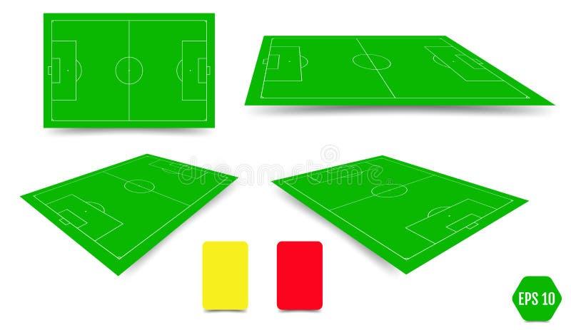 Собрание футбольного поля Элементы перспективы Illustrati вектора иллюстрация штока