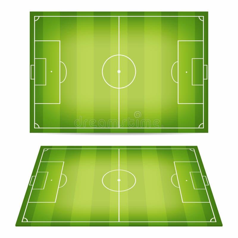 Собрание футбольного поля Футбольные поля Взгляд сверху и взгляд перспективы иллюстрация штока