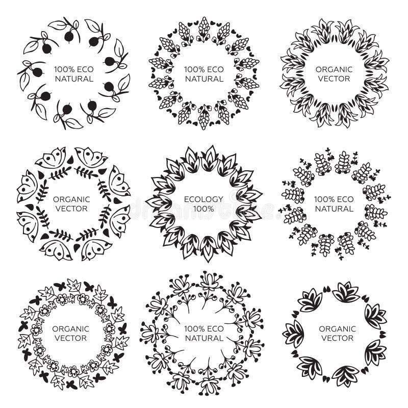 Собрание 9 флористических венков Граница цветков и leavs f иллюстрация вектора