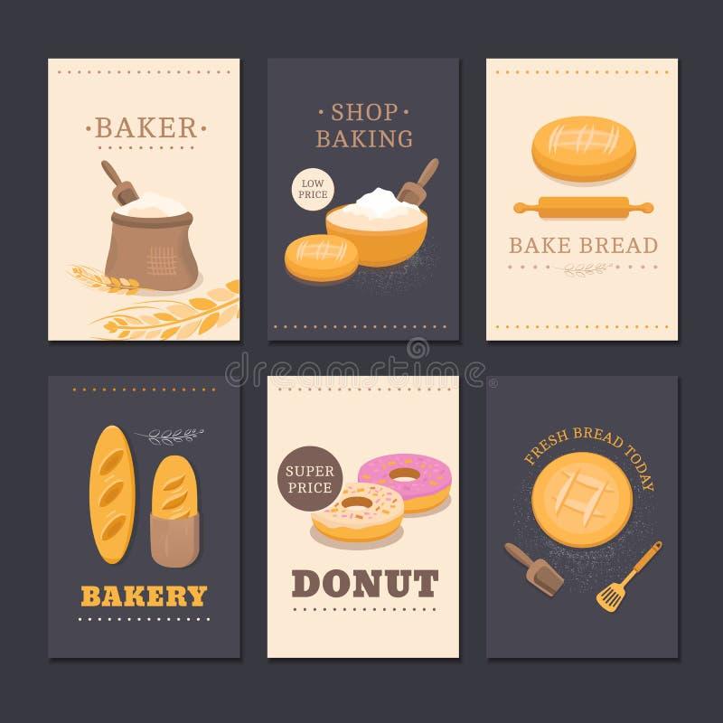 Собрание хлебопекарни магазина карточек иллюстрация вектора