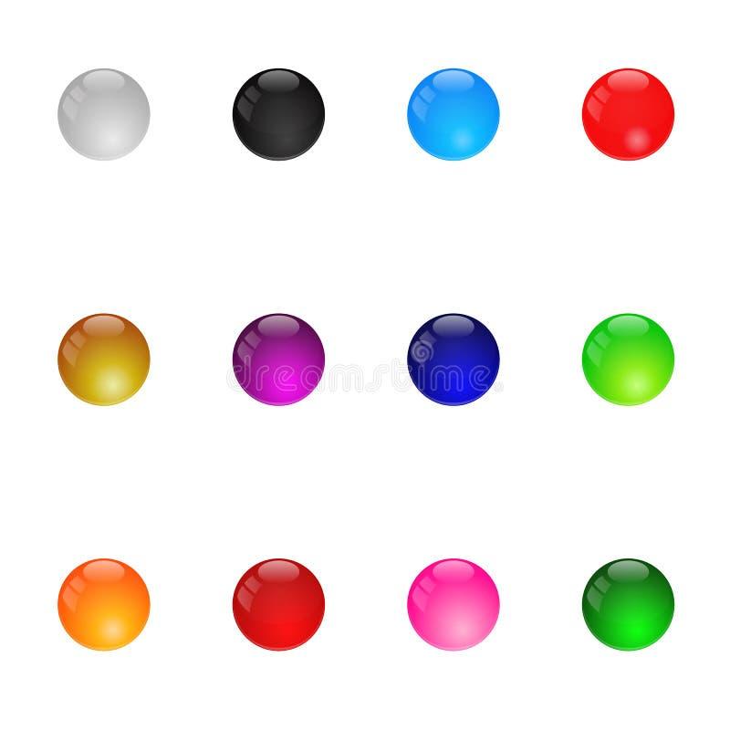 Собрание цветастых лоснистых сфер. Установите 1. изолированный иллюстрация штока