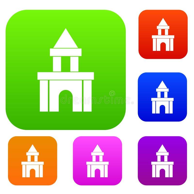 Собрание цвета игрушки блоков установленное иллюстрация штока