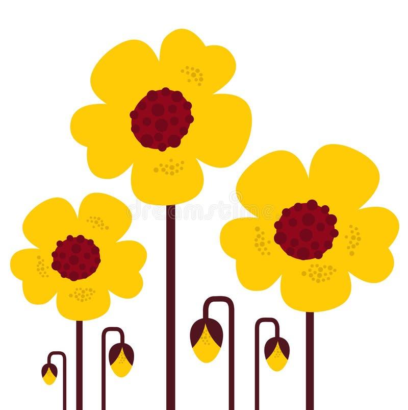 собрание цветет ретро желтый цвет вектора бесплатная иллюстрация
