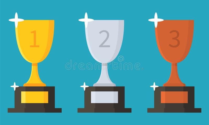Собрание чашек Значок трофея плоский награженное приз также вектор иллюстрации притяжки corel бесплатная иллюстрация