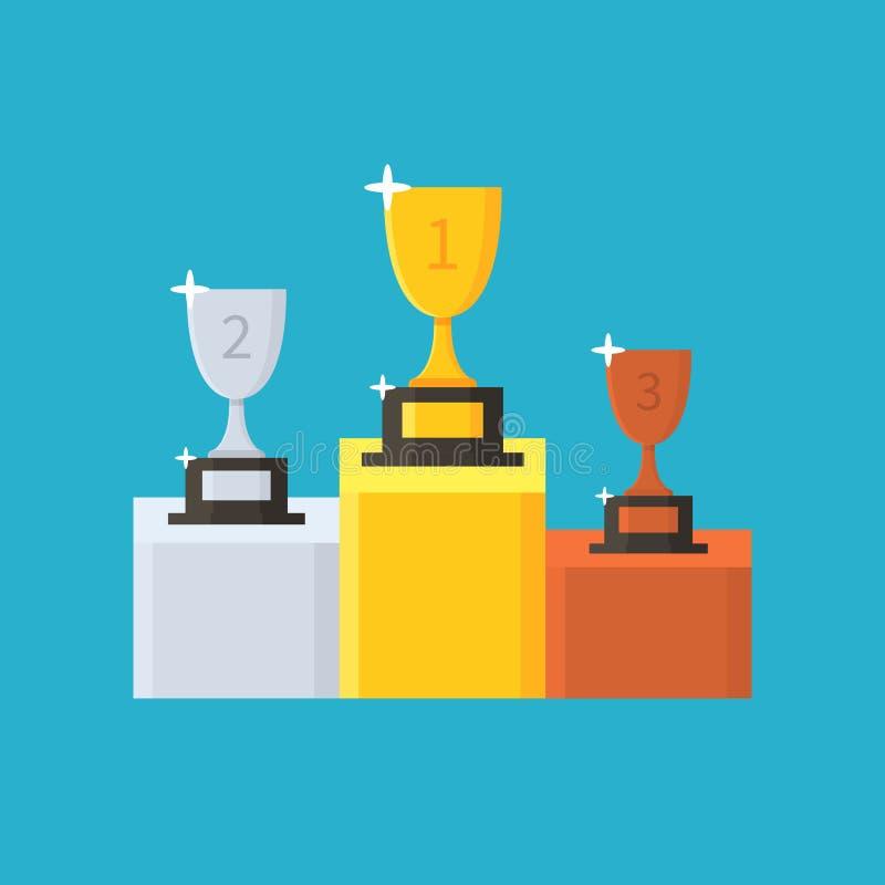 Собрание чашек Трофей победителей золота, серебра и бронзы награженное третьи первого места вторые ПОДИУМ ПОБЕДИТЕЛЯ иллюстрация штока