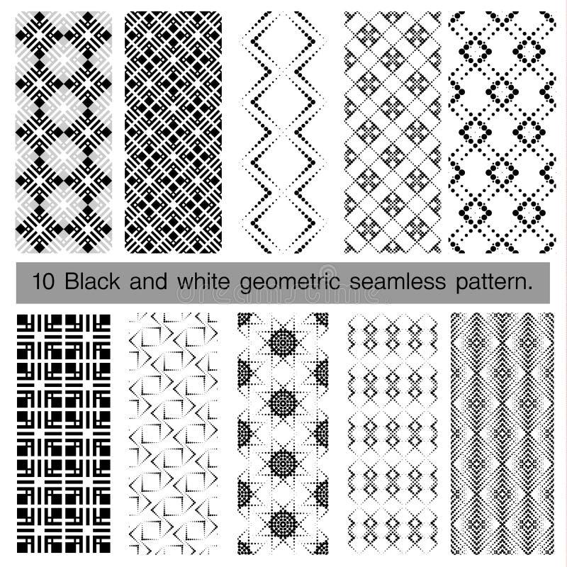 Собрание черно-белой геометрической безшовной картины иллюстрация вектора