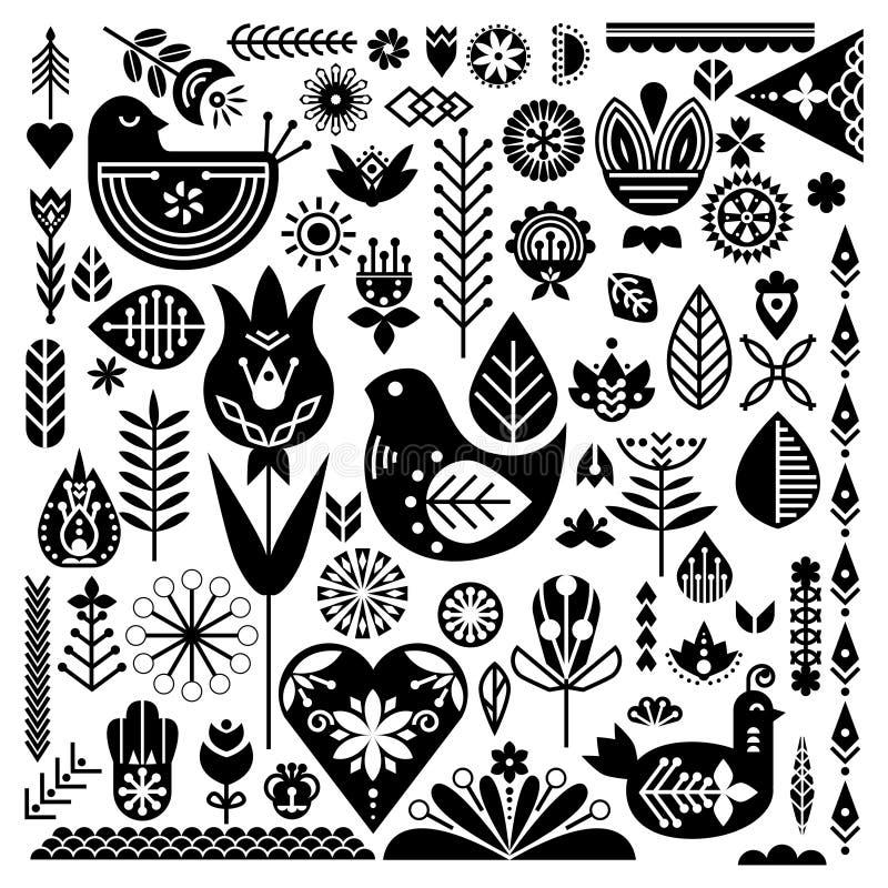 Собрание черных этнических элементов Нордический комплект весны для дизайна иллюстрация штока