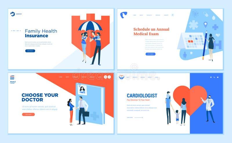 Собрание шаблонов дизайна интернет-страницы здравоохранения бесплатная иллюстрация