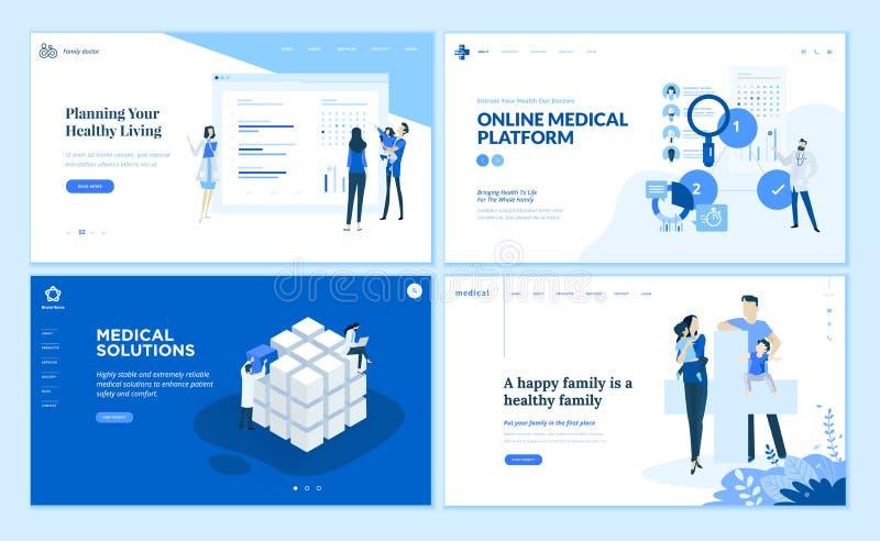 Собрание шаблонов дизайна интернет-страницы здравоохранения иллюстрация штока