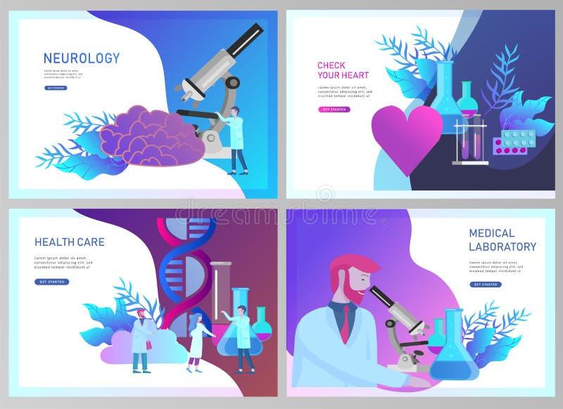 Собрание шаблонов дизайна интернет-страницы онлайн медицинского диагноза и обработки, медицинского пожертвования, лаборатории и с иллюстрация штока