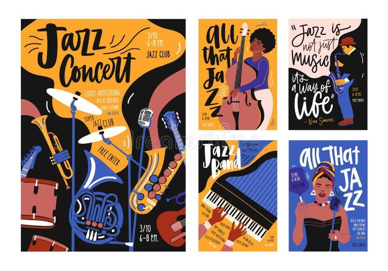 Собрание шаблонов плаката, плаката и рогульки для фестиваля джазовой музыки, концерта, события с музыкальными инструментами иллюстрация штока