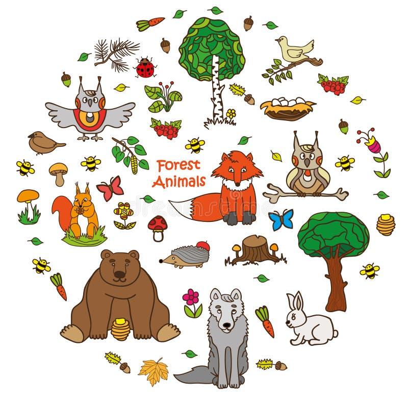 Собрание шаржа зоопарка для книг и плакатов детей иллюстрация штока