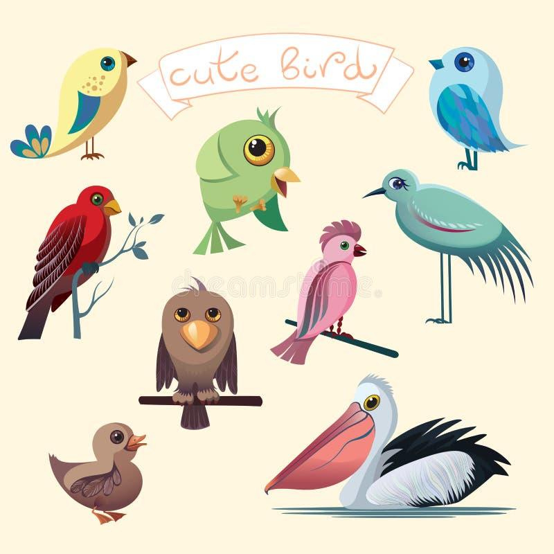 Собрание шаржа с смешными маленькими птицами Пеликан, утка, попугай, орел, цапля бесплатная иллюстрация
