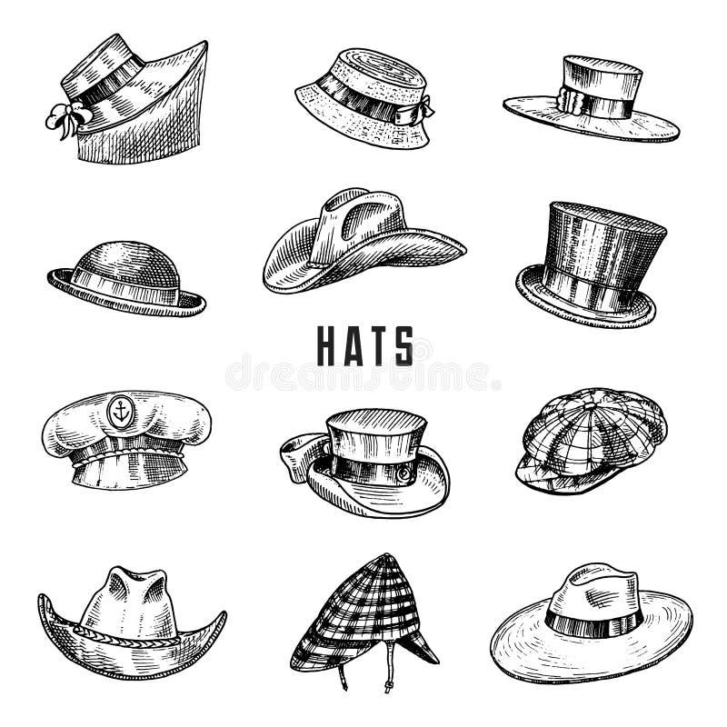 Собрание шляп лета винтажное для элегантных людей, женщины, женщины и дам Солома подающего Homburg Deerstalker Дерби Fedora иллюстрация штока