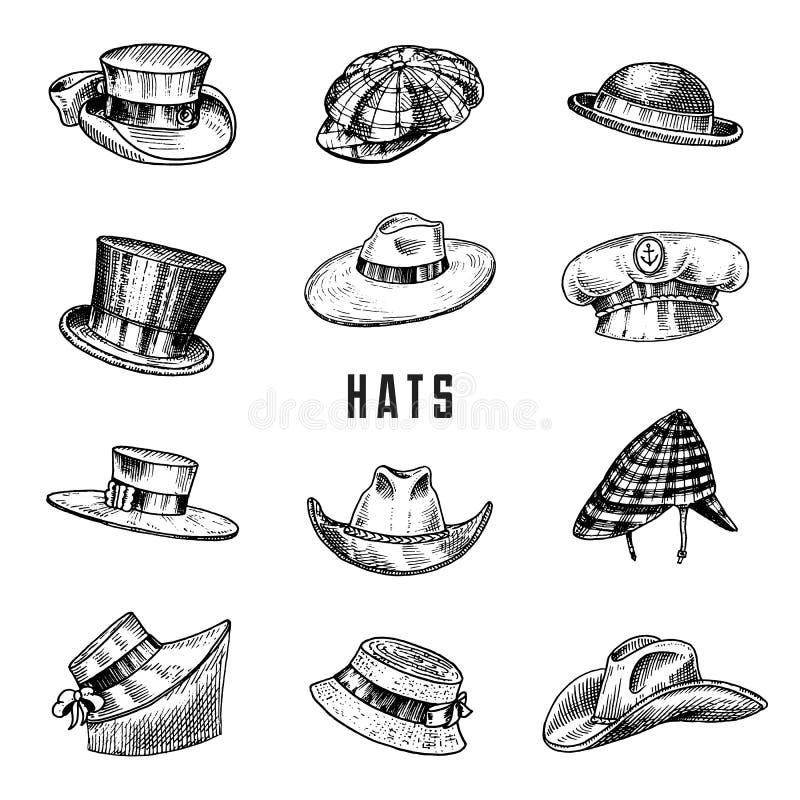 Собрание шляп лета винтажное для элегантных людей, женщины, женщины и дам Солома подающего Homburg Deerstalker Дерби Fedora бесплатная иллюстрация