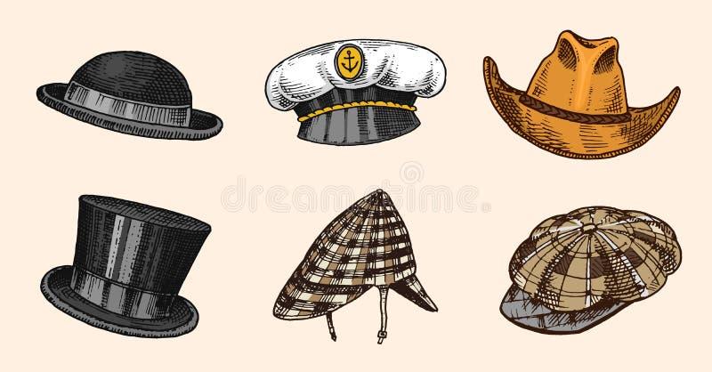 Собрание шляп лета винтажное для элегантных людей, женщины, женщины и дам Солома подающего Homburg Deerstalker Дерби Fedora иллюстрация вектора