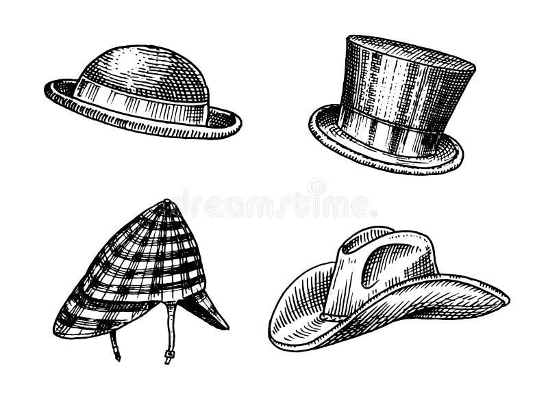 Собрание шляп лета винтажное для элегантных людей Капитан ковбой берета соломы подающего Homburg Deerstalker Дерби Fedora иллюстрация вектора