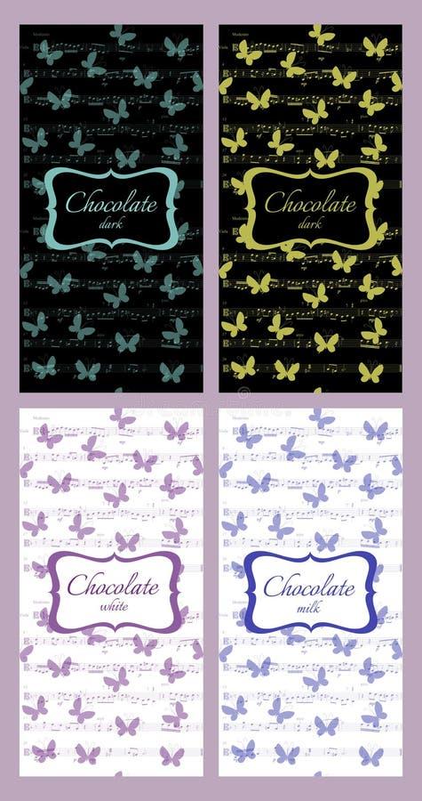 Собрание шоколада упаковывая с музыкальными примечаниями и бабочками иллюстрация вектора