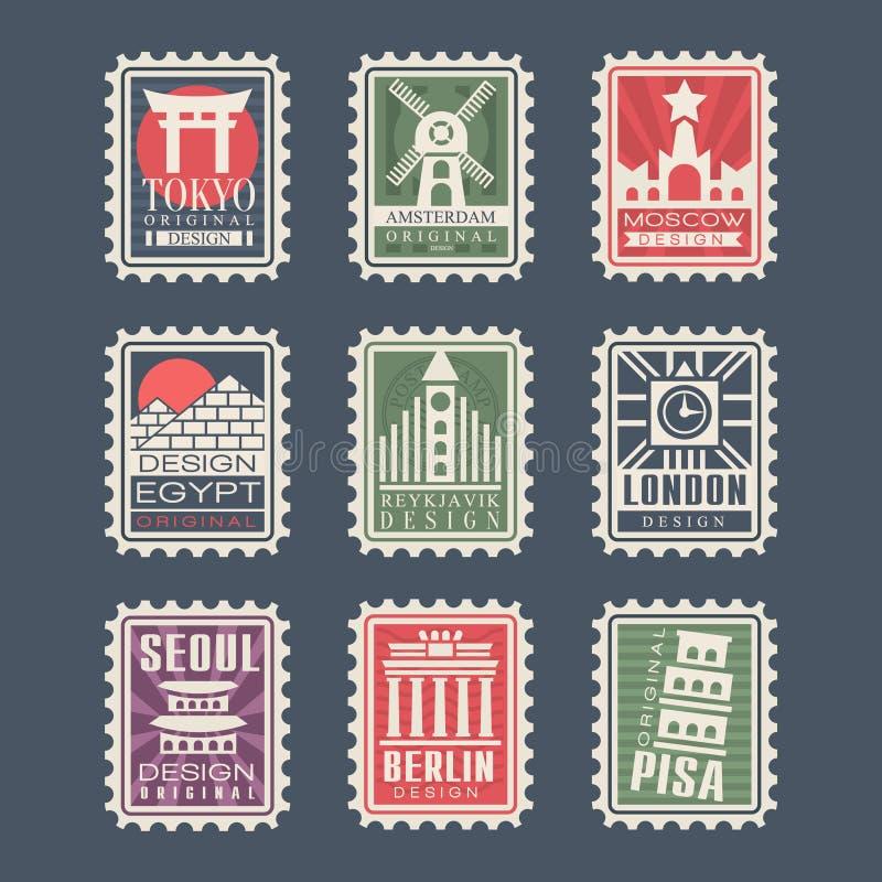 Собрание штемпелей почтового сбора, городов мира, иллюстраций вектора, города штемпелюет с символами бесплатная иллюстрация