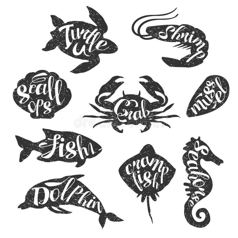 Собрание штемпеля морских животных винтажное иллюстрация вектора