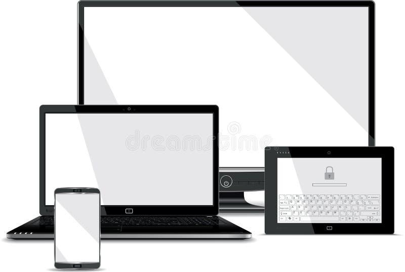 Собрание экранов - умный телефон, компьтер-книжка, таблетка,  иллюстрация вектора
