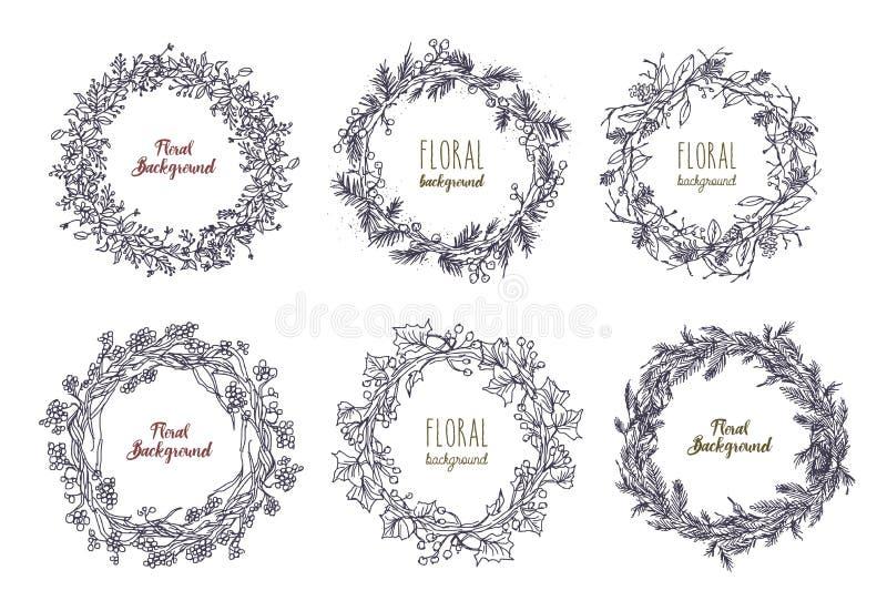 Собрание элегантной венков нарисованных рукой или круговых гирлянд сделанных из переплетаннсяых цветков, ветвей и листьев иллюстрация штока