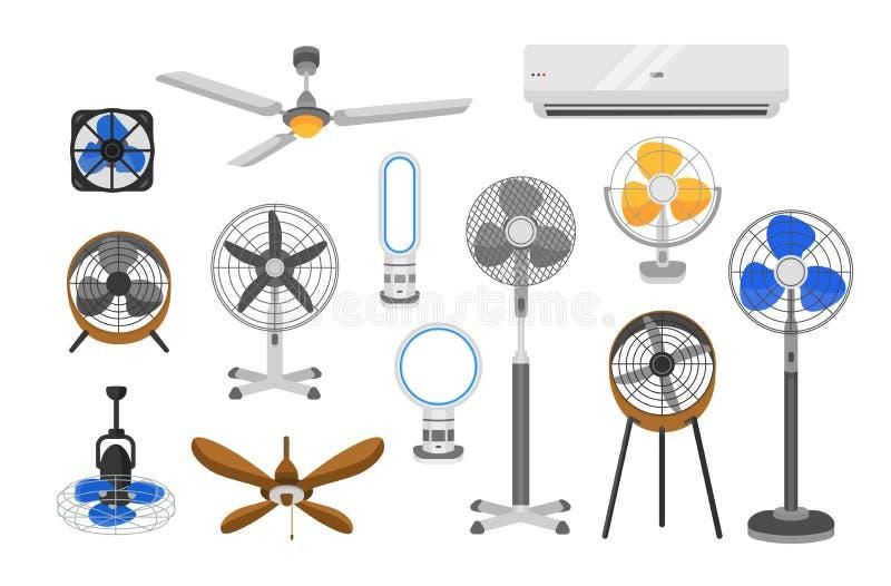 Собрание электрических вентиляторов различных типов изолированных на белой предпосылке Пачка приборов домочадца для охлаждения на иллюстрация вектора