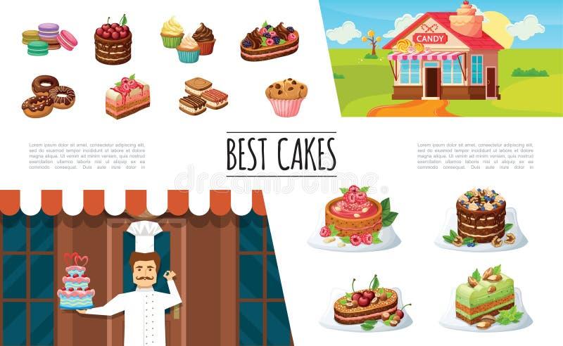Собрание элементов десертов шаржа иллюстрация вектора