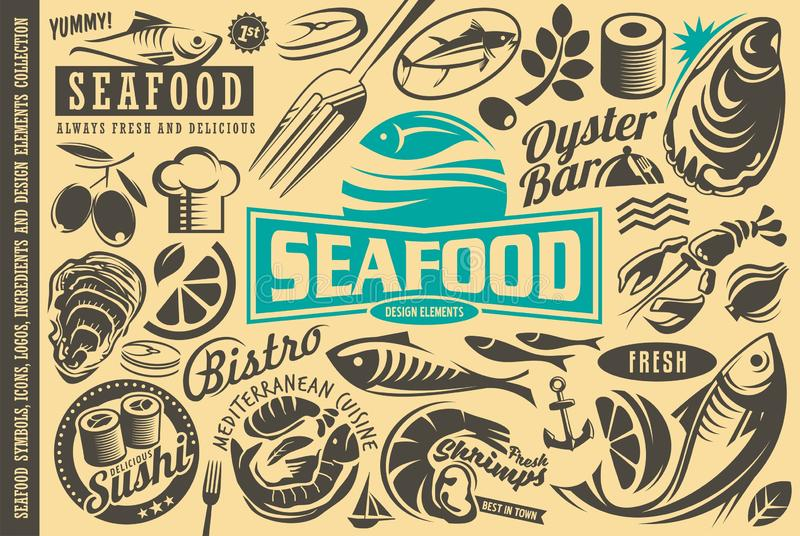 Собрание элементов дизайна ресторана морепродуктов иллюстрация штока