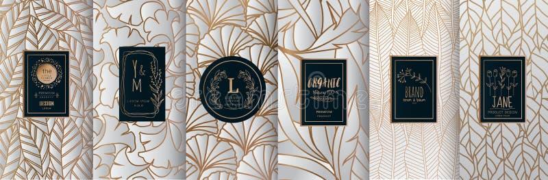 Собрание элементов дизайна, ярлыков, значка, рамок, для логотипа, упаковывая, дизайна роскошных продуктов для дух, мыло, вино, ло иллюстрация штока
