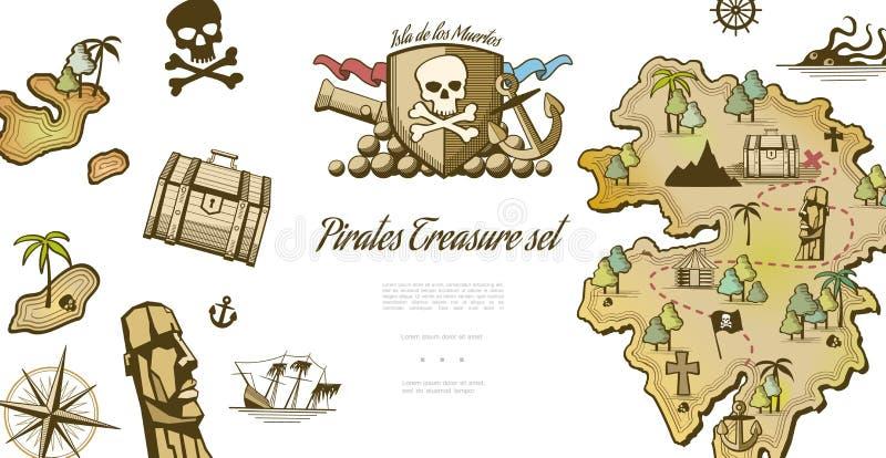 Собрание элементов пирата бесплатная иллюстрация