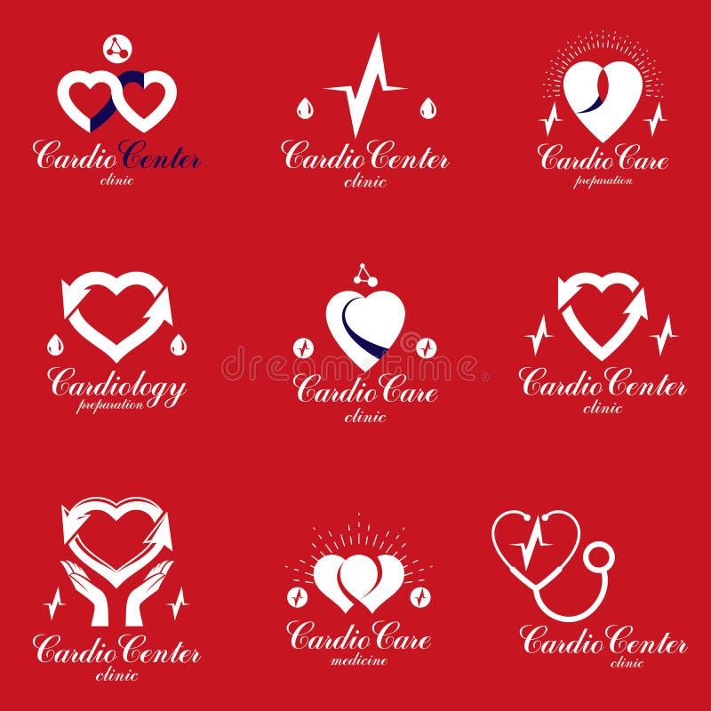 Собрание эмблем вектора медицинского обслуживания кардиологии можно использовать в фармацевтическом деле бесплатная иллюстрация