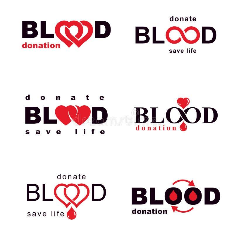 Собрание эмблем вектора созданных на идее донорства крови, blo иллюстрация штока