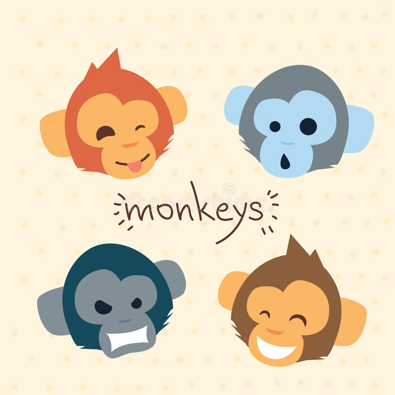 Собрание эмоции головы шаржа стороны обезьяны установленное иллюстрация штока