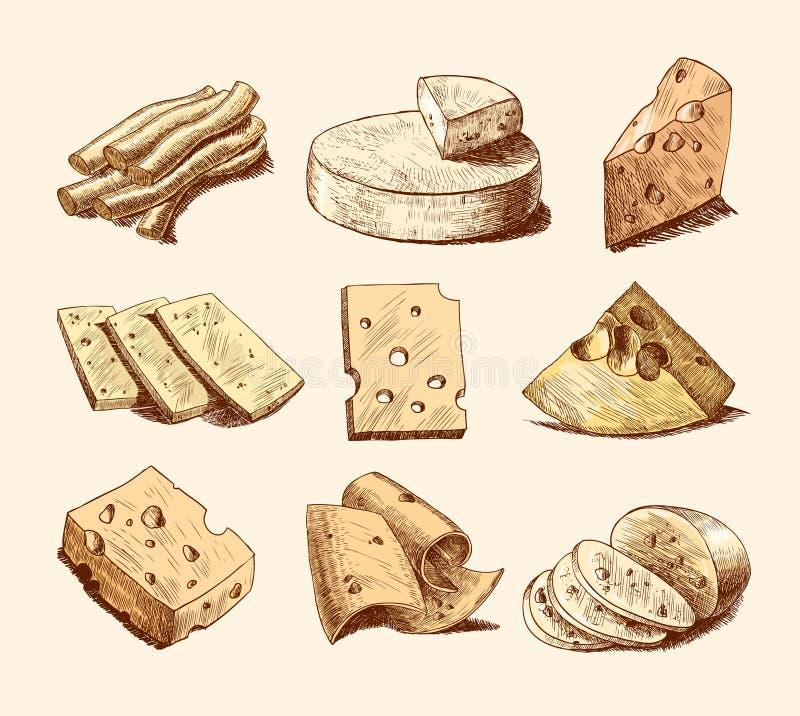 Собрание эскиза сыра иллюстрация штока