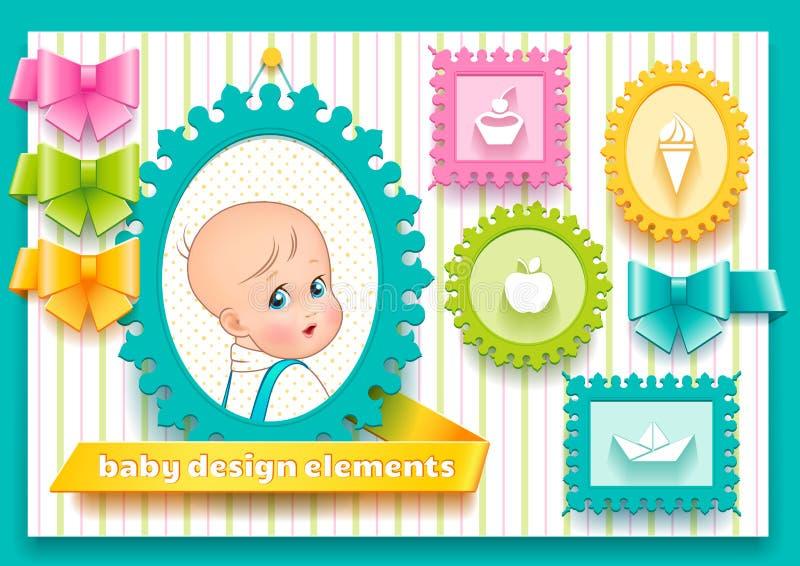 Собрание элементов дизайна для ребенка украшения бесплатная иллюстрация