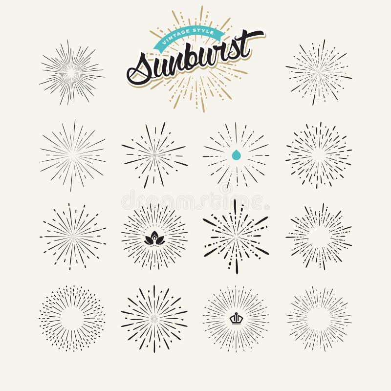 Собрание элементов дизайна sunburst иллюстрация вектора