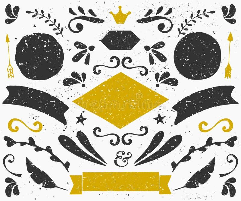 Собрание элементов конструкции год сбора винограда иллюстрация штока