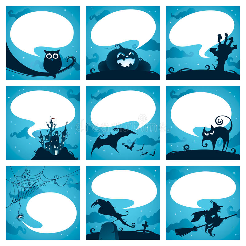 Собрание элементов хеллоуина с пузырями речи бесплатная иллюстрация