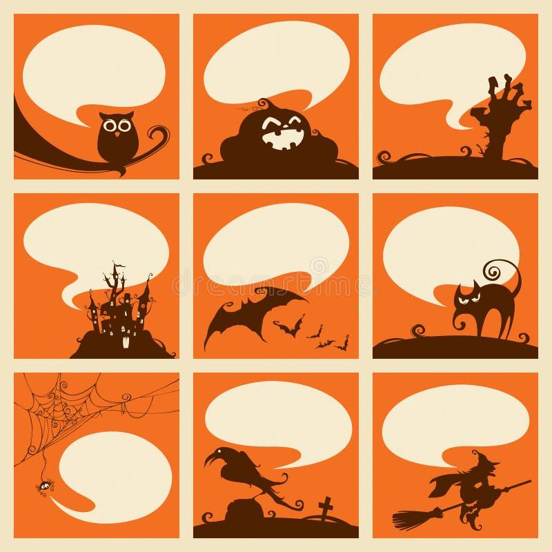 Собрание элементов хеллоуина с пузырями речи иллюстрация вектора