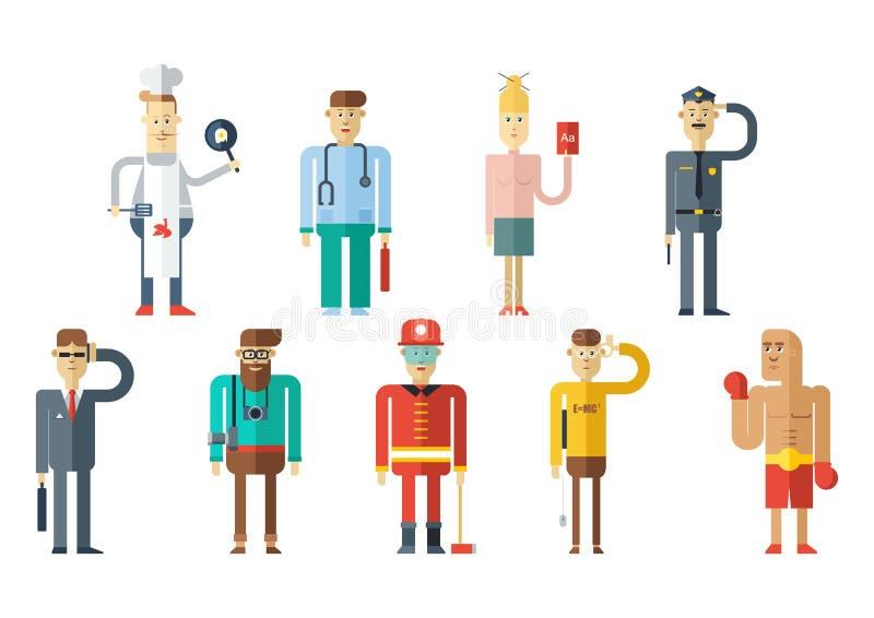 Собрание людей профессии Плоский дизайн стиля иллюстрация штока