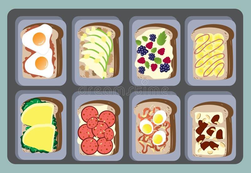 Собрание для здоровой, иллюстрации сандвичей вектора бесплатная иллюстрация