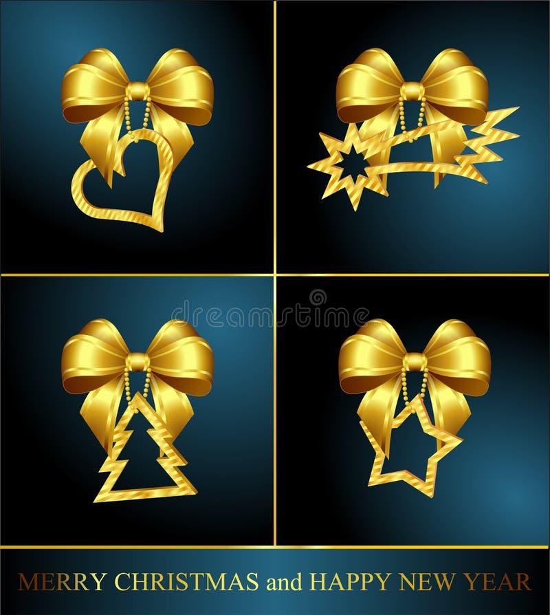 Собрание 4 украшений рождества золотистых иллюстрация вектора
