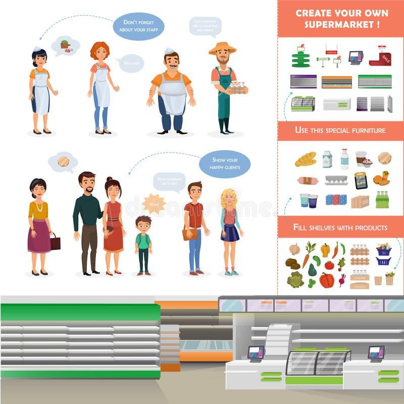 Собрание Clipart для создания вашей собственной сцены супермаркета иллюстрация вектора