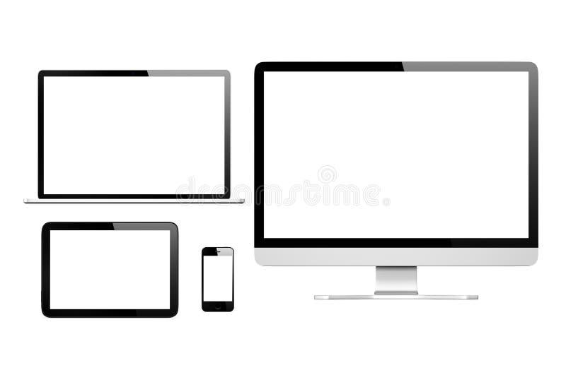 собрание 3D коммуникационных устройств иллюстрация вектора