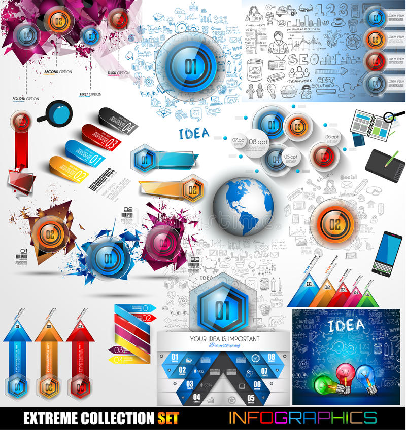 Собрание Infographic мега: Лоснистые значки и больше кнопки иллюстрация вектора