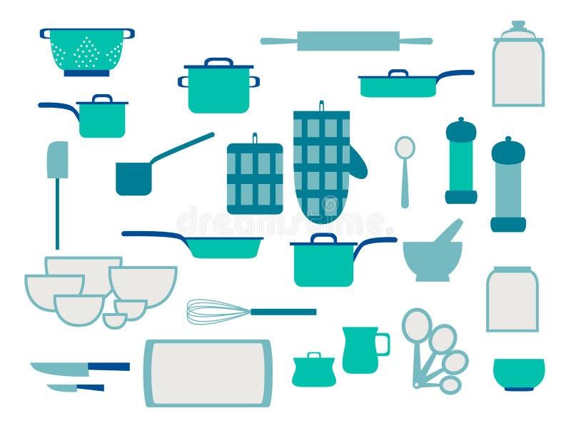 Собрание kitchenware стеклоизделия и набор cookware утварей кухни для домашней кухни, плоской иллюстрации вектора иллюстрация штока