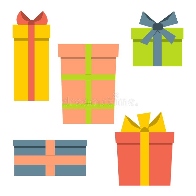 Собрание 5 multi покрашенных подарочных коробок иллюстрация вектора